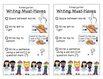 Kindergarten Writing Bookmarks with LABELS!
