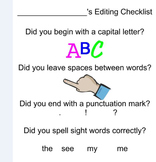 Kindergarten Writing Check List