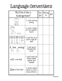 Kindergarten Writing Checklist – Language Conventions