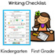 Writing Checklist and Rubric for Kindergarten and First Grade