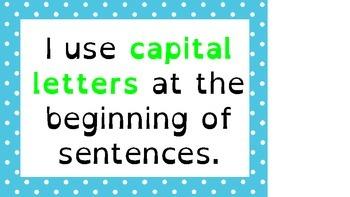 Kindergarten Writing Checklist posters