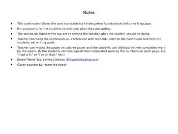 Kindergarten Writing Continuum