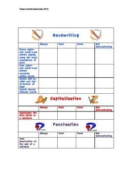 Kindergarten Writing Conventions Rubric- Standards Based Assessment