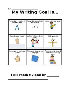 Kindergarten Writing Goal Setting Sheet