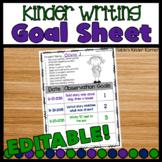 Kindergarten Writing Goals Recording Sheet