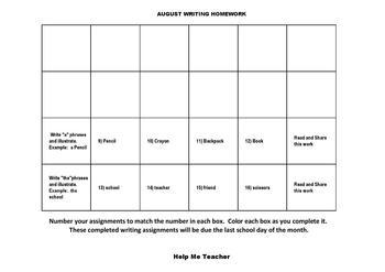 Kindergarten Writing Homework Calendar - March - Help Me Teacher