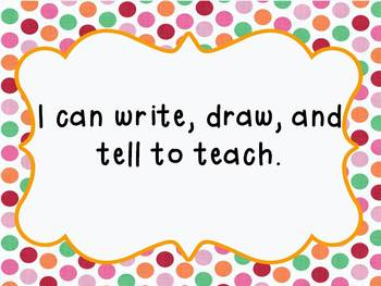 Kindergarten Writing I Can Statements (Common Core)