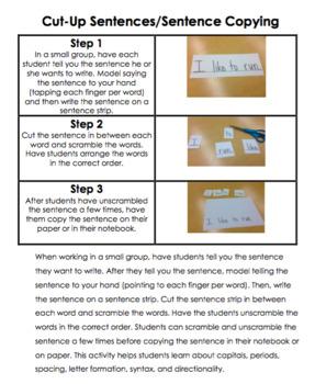 Kindergarten Writing - Response to Intervention RTI Strategies for Teachers