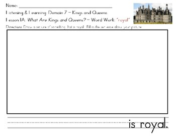 Kindergarten Writing Journal - Listening and Learning, Domain 7: Lesson 1A