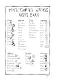 Kindergarten Writing Journal Word Bank