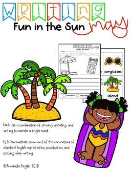Differentiated Writing Center Kindergarten May: Fun in the Sun