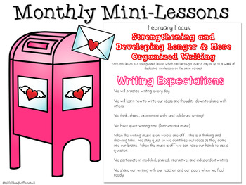 Kindergarten Writing Mini-Lessons February