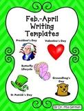 Kindergarten Descriptive Writing & Story Templates for Feb, March, April
