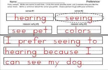 Kindergarten Writing Opinion and Preference Sentences Common Core (printable)