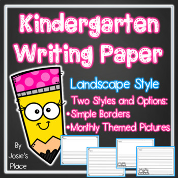 Kindergarten Writing Paper Landscape Style by Josie\u0027s Place TpT