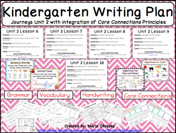Kindergarten Writing Plans for Units 1-6 (Bundle Pack) Journeys/Core Connections