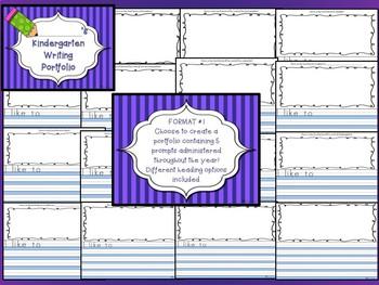 Kindergarten Writing Portfolio Prompts for the ENTIRE YEAR 2 Formats Keepsake