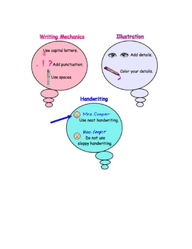 Kindergarten Writing Poster (mechanics, illustration, handwriting)