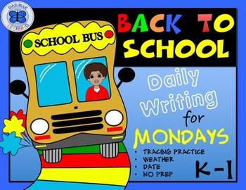 Kindergarten - First Grade Writing Worksheets for Mondays