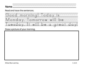 Kindergarten Writing Practice - No PREP (August)