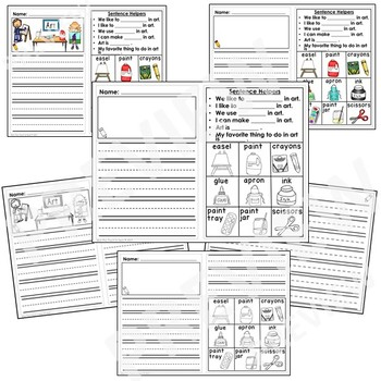 Kindergarten Journal Writing Prompts Differentiated- Set 5 Art