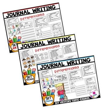 Kindergarten Journal Writing Prompts Differentiated-BUNDLE 2