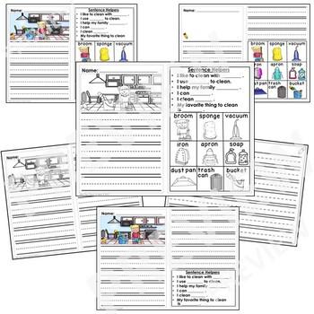 Kindergarten Journal Writing Prompts Differentiated- Set 4 Chores