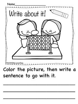 Kindergarten Writing Prompts Fun and Games