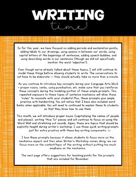 Kindergarten Writing Prompts: November *Notebook OR SmartBoard Versions!*