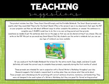 Kindergarten Writing Prompts: October *Notebook OR SmartBoard Versions!*