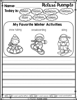 Kindergarten Writing Prompts: Opinion Writing & Picture Prompts (January)