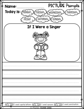 Kindergarten Writing Prompts: Opinion Writing & Picture Prompts (March)