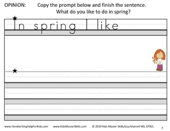 Kindergarten Writing Prompts - Spring Theme