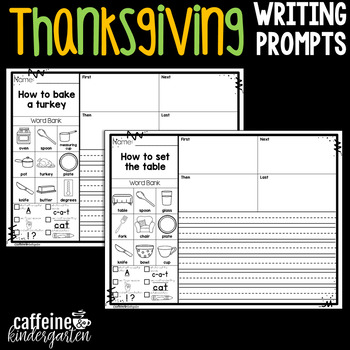 Kindergarten Writing Prompts - Thanksgiving