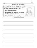 Kindergarten Writing Responses for Dr. Seuss Books 6 Print and Go Assignments