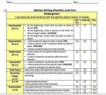 Kindergarten Writing Rubrics Bundle