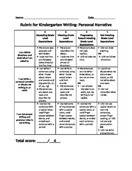 Kindergarten Writing Rubric for Personal Narrative