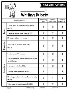 Kindergarten Writing Rubrics