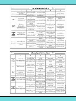 Kindergarten Writing Rubrics - Narrative, Informational, and Opinion Genres