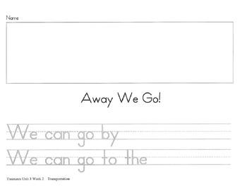 Kindergarten Writing Scaffolds for CA Treasures Theme 1-10