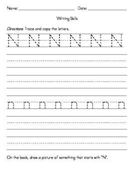 Kindergarten Writing Skills Homework Pack