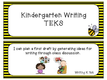 Kindergarten Writing TEKS ~ Bee Theme