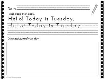 Kindergarten - First Grade Writing Worksheets for Tuesdays