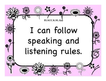 Kindergarten Writing and Language Standards - Flower Theme