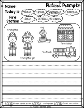 Kindergarten Writing prompts: Opinion Writing & Picture prompts (October)