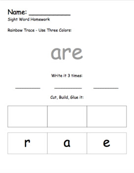 Kindergarten Year Long Sight Word Homework