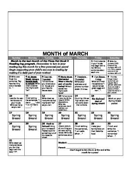 Kindergarten Yearly Homework Calendar 2012-2013 Common Core