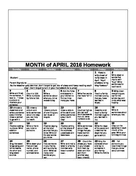 Kindergarten Yearly Homework Calendar 2015-2016 Common Core