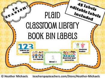 Kindergarten Yellow Plaid Book Bin Labels in Spanish