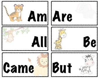 Kindergarten Zoo Sight Word Flash Cards